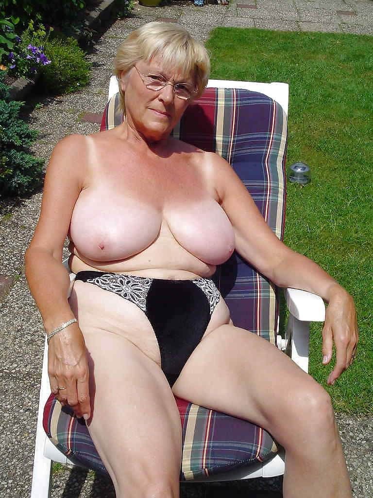 Mature granny with giant breast